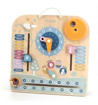 Дерев'яний календар Viga Toys PolarB з годинником, англійською мовою (44056)