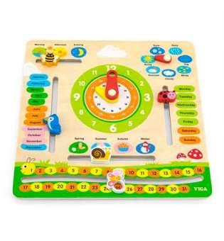 Дерев'яний календар Viga Toys з годинником, англійською мовою (44538)