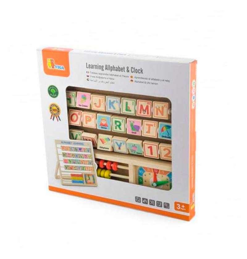 Дерев'яна гра Viga Toys Англійський алфавіт із годинником і рахівницею (50033)