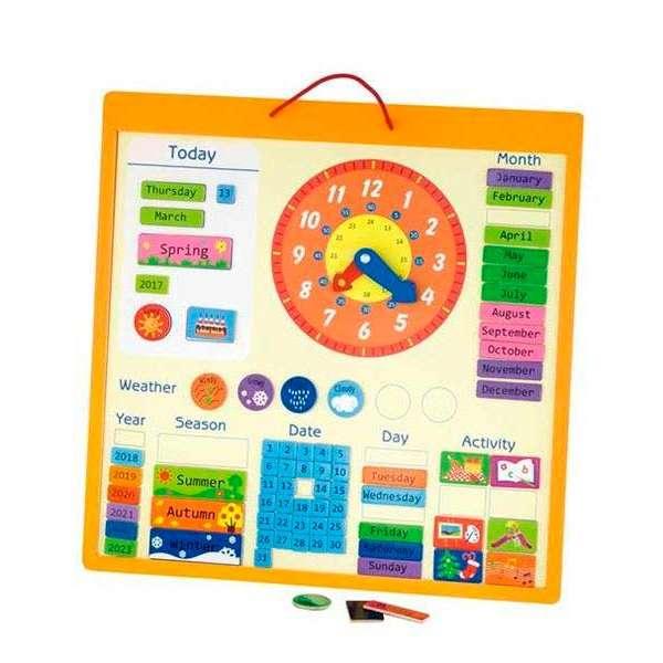Магнітний календар Viga Toys з годинником, англійською мовою (50377)