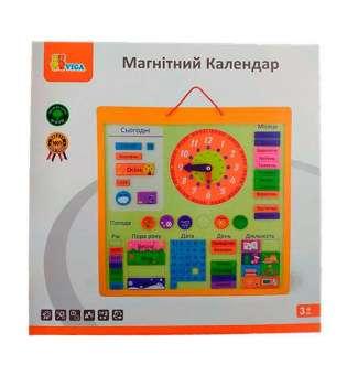 Магнітний календар Viga Toys з годинником, українською мовою (50377U)