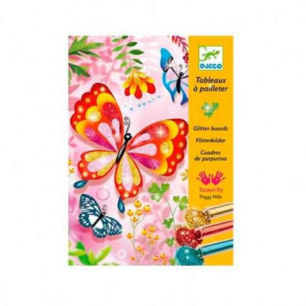 DJECO Художній комплект малювання блискітками Блискучі метелики