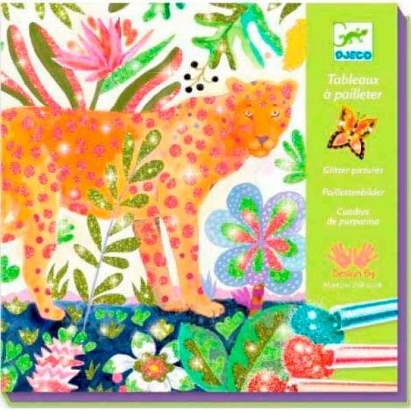 """DJECO Художній комплект малювання кольоровими блискітками """"Тропіки"""""""
