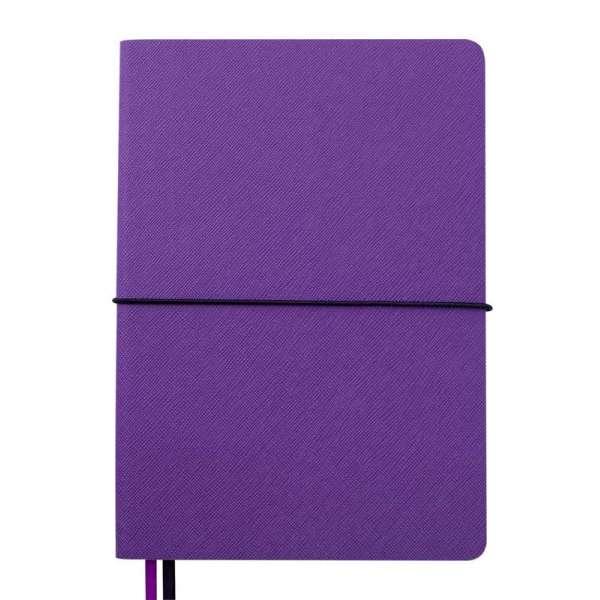 Блокнот діловий UNIQUE, А5, 96 арк., клітинка, чорний з фіолетовим, шт.шкіра
