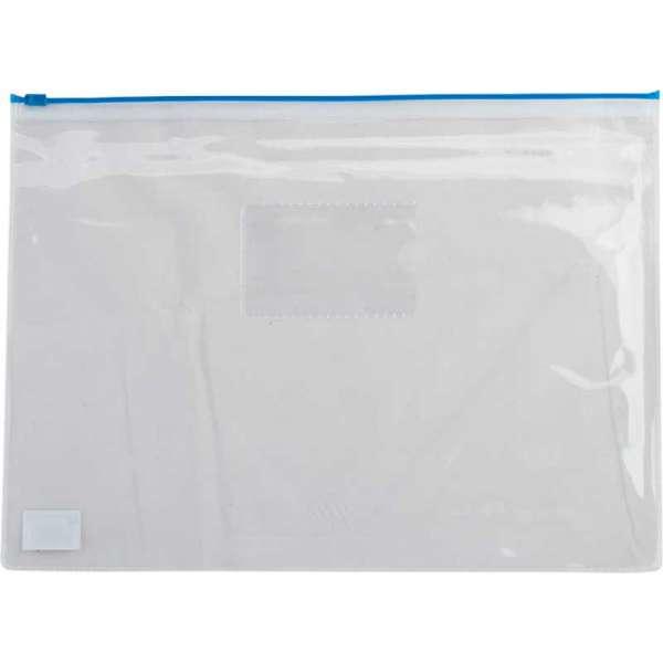 Папка - конверт, на блискавці zip-lock, А4, глянцевий прозорий пластик, синя блискавка