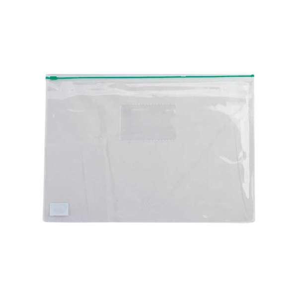 Папка - конверт, на блискавці zip-lock, А4, глянцевий прозорий пластик, зелена блискавка