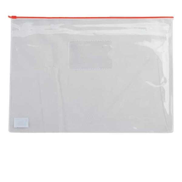 Папка - конверт, на блискавці zip-lock, А4, глянцевий прозорий пластик, червона блискавка