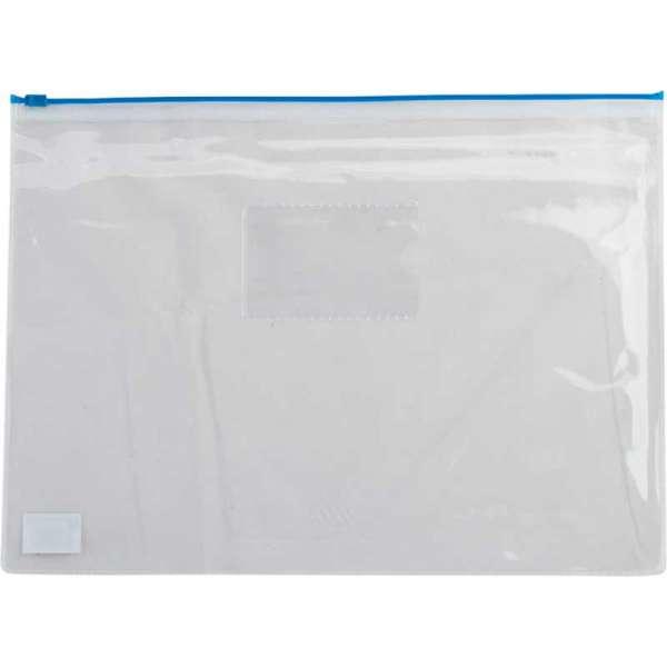 Папка - конверт, на блискавці zip-lock, А5, глянцевий прозорий пластик, синя блискавка