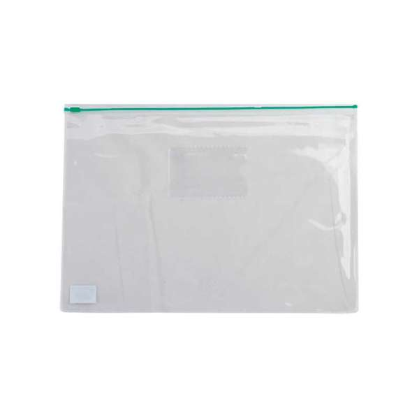 Папка - конверт, на блискавці zip-lock, А5, глянцевий прозорий пластик, зелена блискавка