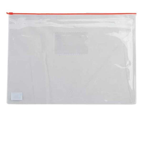 Папка - конверт, на блискавці zip-lock, А5, глянцевий прозорий пластик, червона блискавка