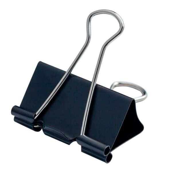 Біндер-затискач для паперу, 41 мм, чорний, по 12 шт. в карт.коробці