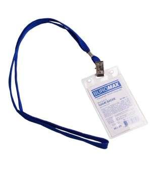 Бейдж-ідентифікатор верт., пласт., 64х108мм, зі шнурком на кліпі