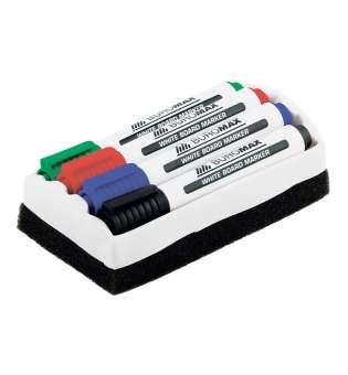 Комплект: 4 маркери для магн. дошок (чорн., син., зел., черв.), + губка для дошок