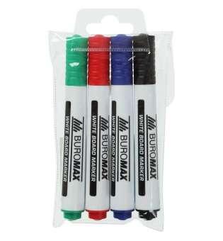 Набір з 4 маркерів для магн. дошок (чорн., син., зел., черв.)