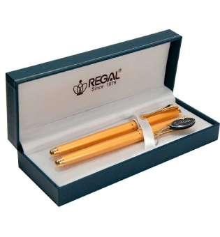 Комплект ручок (перо+ролер) в подарунковому футлярі L, золото