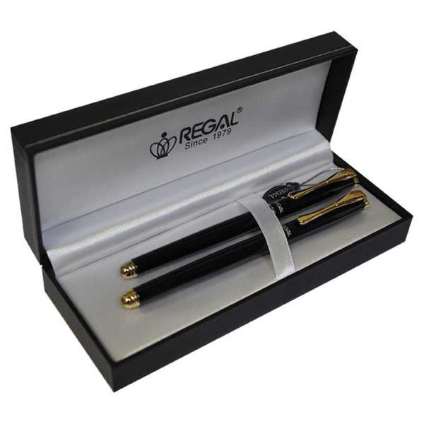 Комплект ручок (перо+ролер) в подарунковому футлярі L, чорный