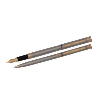 Комплект ручок (перо+кулькова) в подарунковому футлярі L, сталь