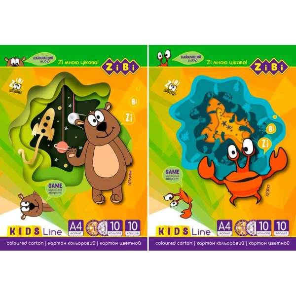 Картон кольоровий, А4, 10 кольорів - 10 аркушів, (8 станд.кол.+золото і срібло), 230г/м2(ціна за 20шт.)(ціна за 20шт.)