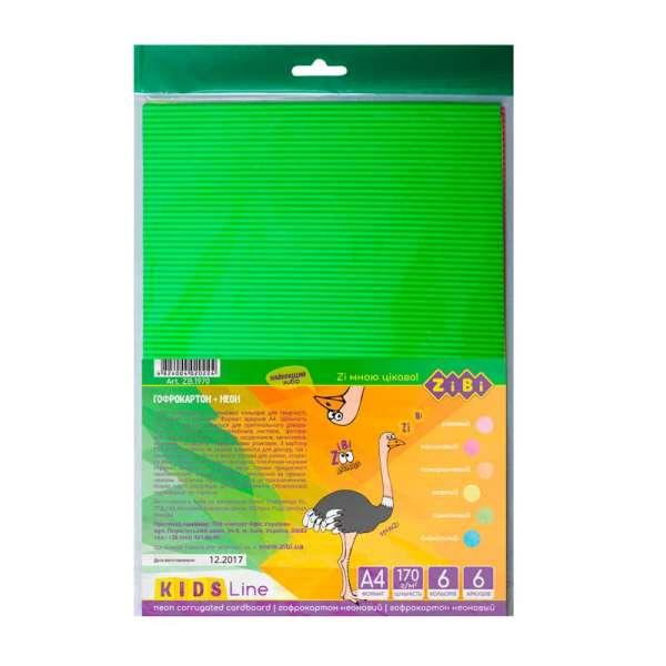 Набір кольорового картону НЕОН, 6 аркушів А4: 6 неонових кольорів