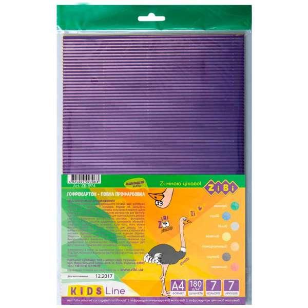 Набір кольорового гофрокартону (кольор.в розрізі), А4: 7 кольорів