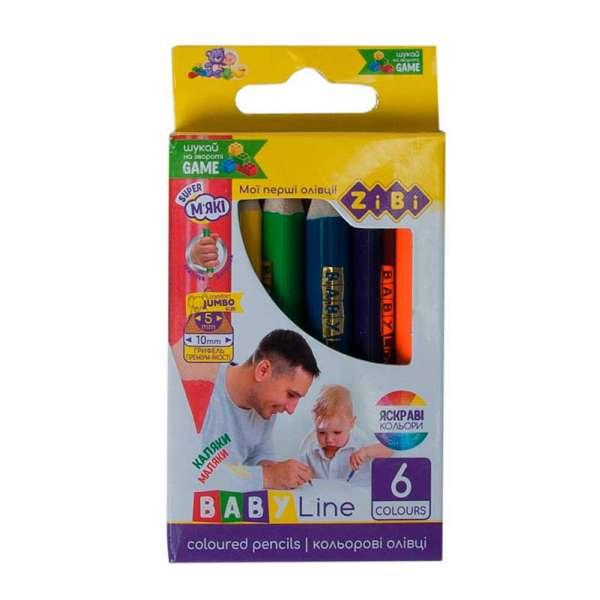 Кольорові олівці mini JUMBO, 6 кольорів, BABY Line