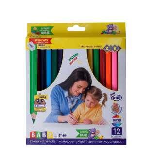 Кольорові олівці JUMBO, з чинкою 12 кольорів, BABY Line