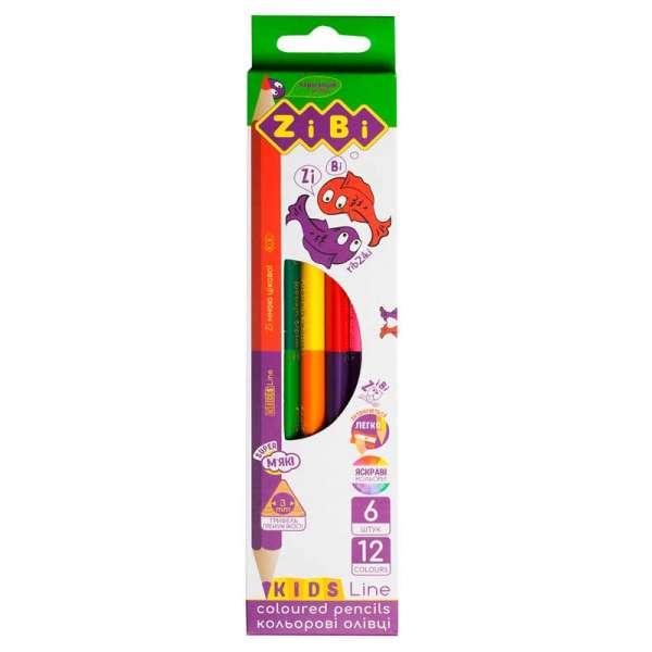 Кольорові олівці Double, 6 шт. (12 кольорів), KIDS Line