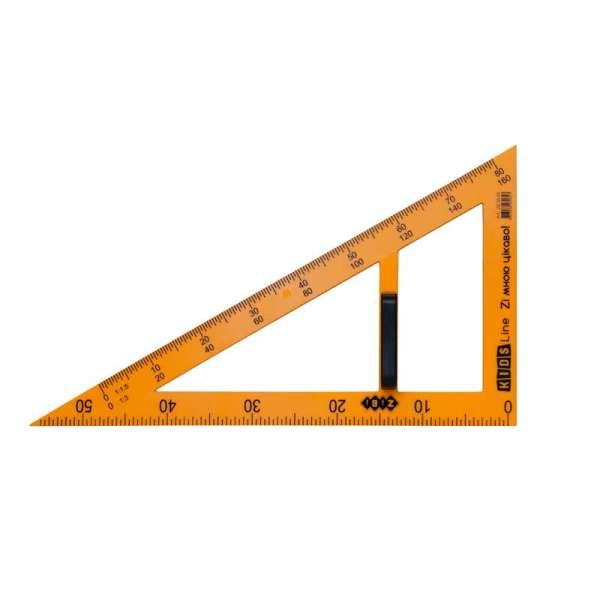 Косинець TEACHER 90°/60° для шкільної дошки 50 см, жовтий, KIDS Line