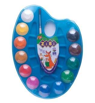 Акварельні фарби на палітрі, 12 кольорів, натуральний пензель, синій,KIDS Line