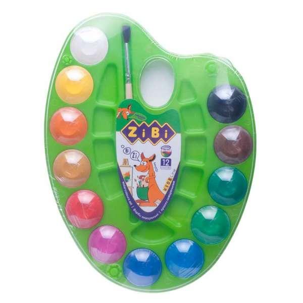 Акварельні фарби на палітрі, 12 кольорів, натуральний пензель, салатова, KIDS Line