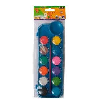 Акварельні фарби на палітрі, 12 кольорів, з пензликом, синій, KIDS Line
