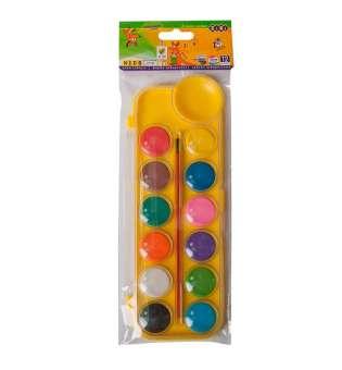 Акварельні фарби на палітрі, 12 кольорів, з пензликом, жовтий, KIDS Line