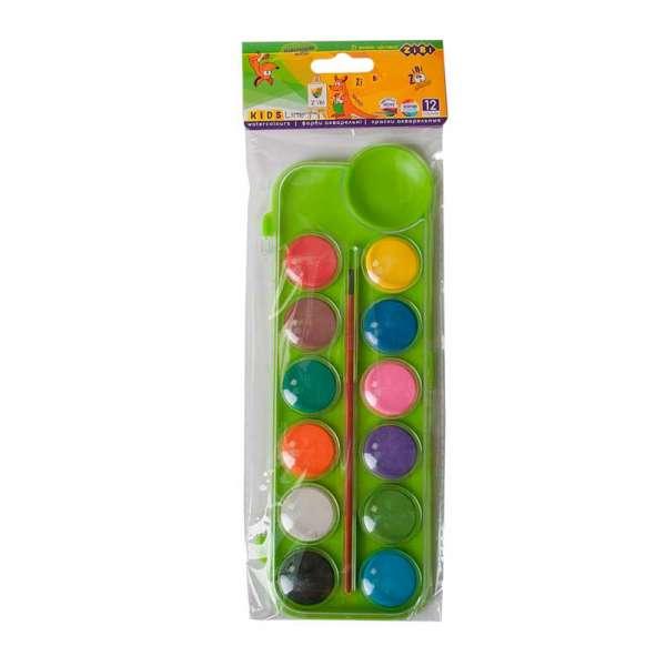 Акварельні фарби на палітрі, 12 кольорів, з пензликом, салатовий, KIDS Line