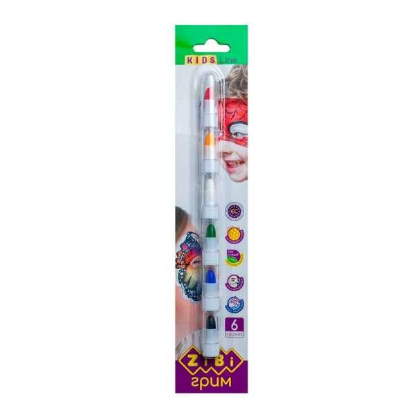 Олівці для гриму обличчя та тіла , 6 кольорів стандарт, KIDS Line