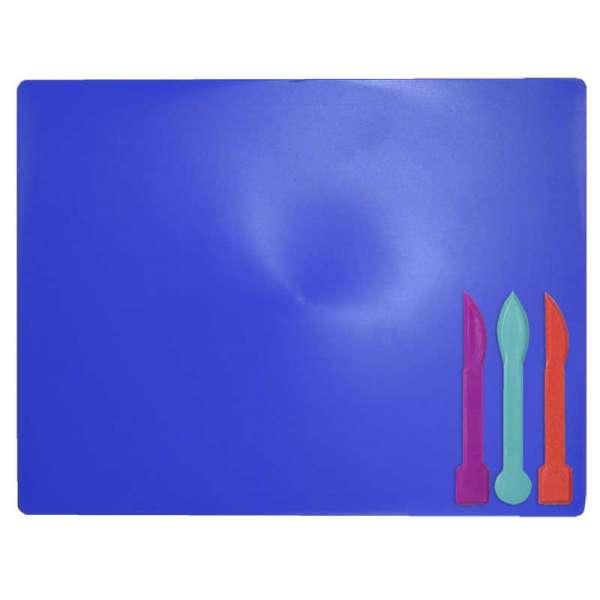 Дошка для пластиліну + 3 стеки для ліплення, синя