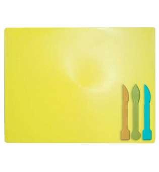 Дошка для пластиліну + 3 стеки для ліплення, жовта