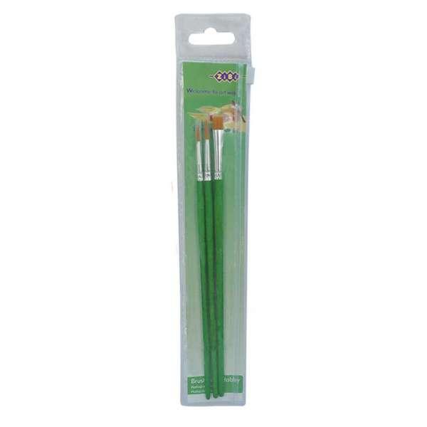 Набір пензликів Hobby: синтетика круглий 2,4; синтетика плаский 4.В пеналі 3шт., KIDS Line