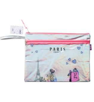 Папка А4 ПАРИЖ, 33х26х1 см, 2 відд., голограф. шт.шкіра, рожевий і срібло
