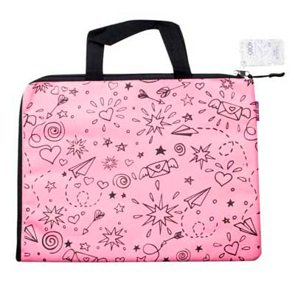 Папка A4 ШКОЛА, 33x25x1 см, горизонт., 2 ручки, котон і поліестер, рожева