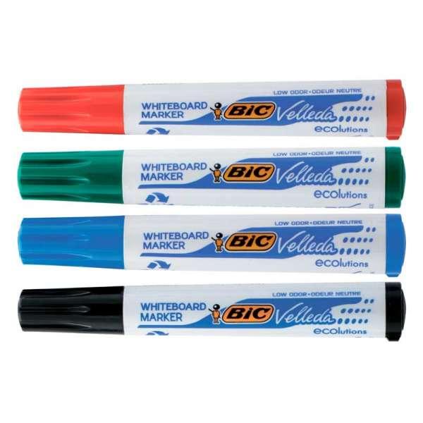 Набір маркерів для сухост. дошок VELLEDA, 4 кольори (чор., син., зел., черв.)