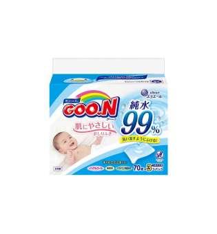 Вологі серветки Goo.N для чутливої шкіри (3 блока по 70 шт)