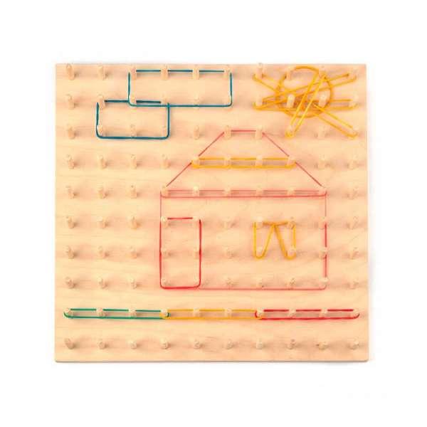Математичний планшет навчальний 30см (10х10) з набором канцелярських різнокольорових гумок