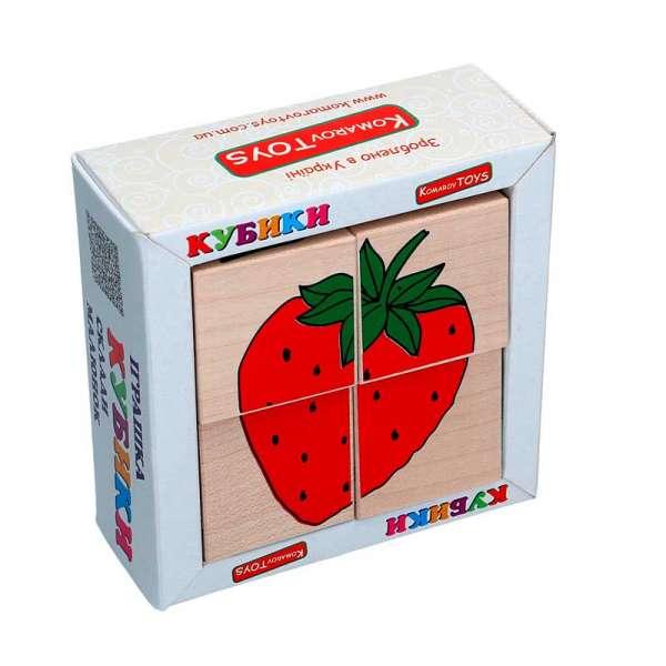 Набір кубиків Склади малюнок Фрукти-ягоди 4шт.