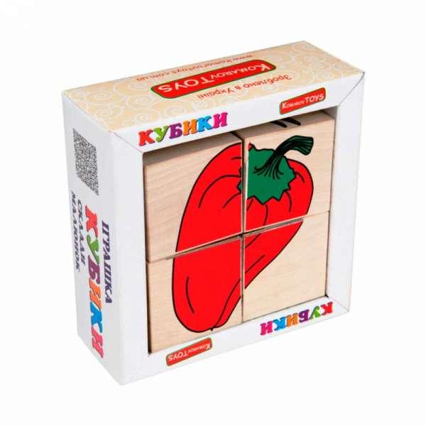 Набір кубиків Склади малюнок Овочі 4шт.