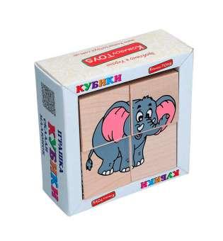 Набір кубиків Склади малюнок - Звірі Африки 4шт.