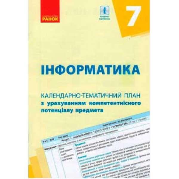 Календарно-тематичний план. Інформатика 7 кл. НОВА ПРОГРАМА