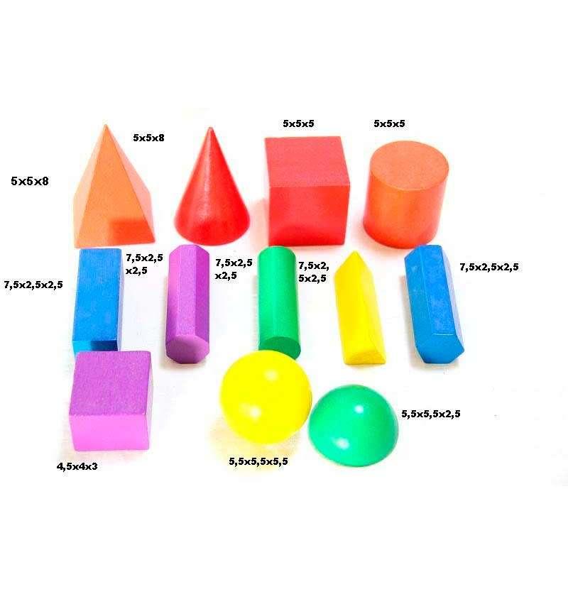 Дерев'яний набір кольорових моделей геометричних тіл та фігур (12 ел.)