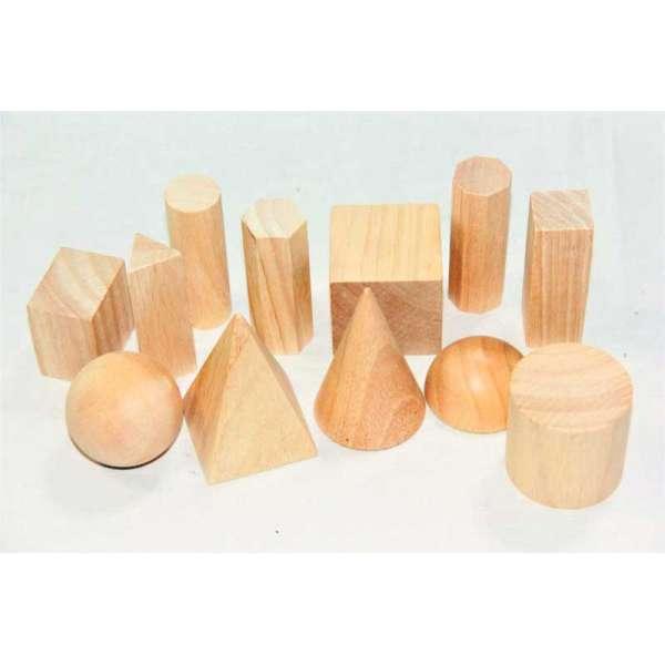 Дерев'яний набір моделей геометричних тіл та фігур (12 ел.)