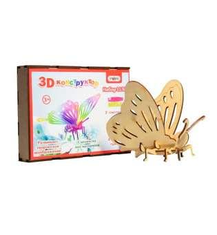 3D деревянный конструктор 603 Бабочка, в кор-ке 26см*18см*4см