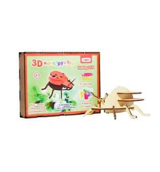 3D деревянный конструктор 604 Божья коровка, в кор-ке 26см*18см*4см